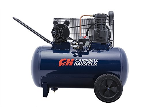 Air Compressor, 30-Gallon Horizontal Tank, Portable, Single-Stage, 10.2CFM, 3.7HP, 1 Phase (Campbell...