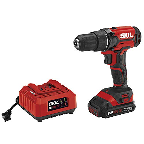 Skil 20V 1/2 Inch Cordless Drill Driver, Includes 2.0Ah PWRCore 20 Lithium Battery and Charger -...