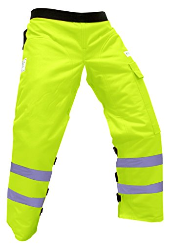 Forester Chainsaw Safety Chaps with Pocket, Apron Style (Long 40', Safety Green)