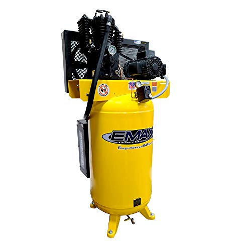 5 HP Quiet Air Compressor, 1PH, 2-Stage, 80-Gallon, Vertical, EMAX Yellow, Industrial Series, Model...