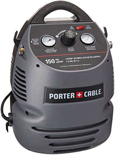 PORTER-CABLE Air Compressor Kit, 1.5 Gallon, Oil-Free, Fully Shrouded, Hand Carry, 25-Feet Hose...